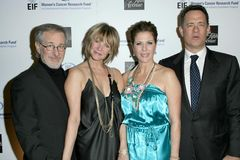 Kate Capshaw, Rita Wilson, Steven Spielberg, Tom Hanks stock photos