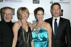 Kate Capshaw, Rita Wilson, Steven Spielberg, Tom Hanks Foto de archivo