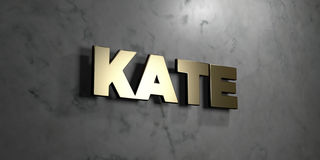 Kate - Gold sign mounted on glossy marble wall  - 3D rendered royalty free stock illustration Royalty Free Stock Images