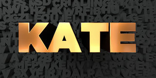 Kate - Gold text on black background - 3D rendered royalty free stock picture Royalty Free Stock Photos