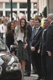 Kate Middleton obtient à l'hôtel donnant un coup de corne Images libres de droits