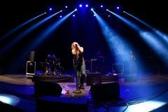Kate Tempest-de dichter, de dramaticus, rapper en de opnamekunstenaar presteren bij Sonarfestival stock afbeelding