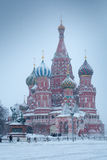 Katedra Świątobliwy basil Błogosławiony na zima placu czerwonym, Moskwa, Rosja Zdjęcie Stock