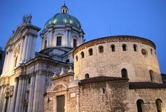 Katedra Brescia przy zmierzchem Obrazy Royalty Free