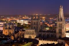 Katedra Burgos dzisiaj wieczór Obrazy Stock