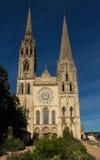 Katedra Chartres - frontowy widok, Francja obrazy stock