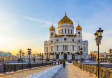 015 - Katedra Chrystus wybawiciel w Moskwa w popołudniu obrazy royalty free