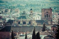 Katedra i centrum miasta widzieć od kasztelu, Granada, Granada Zdjęcia Royalty Free