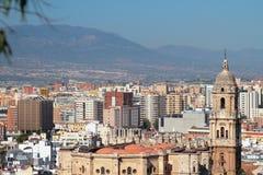 Katedra i miasto malaga Hiszpanii Fotografia Royalty Free
