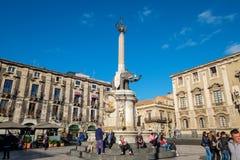 Katedra Kwadrat Catania, Sicily, Włochy fotografia stock
