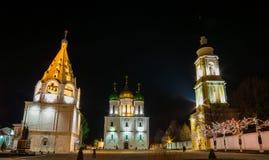 Katedra kwadrat miasto Kolomna, Rosja zdjęcia stock