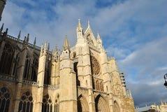 Katedra Leà ³ n, lateral widok obraz royalty free