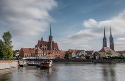 Katedra in Odra in Wroclaw in Polen stock fotografie