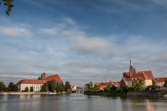 Katedra in Odra in Wroclaw in Polen stock foto