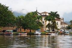 Katedra łodzie paraty Rio De Janeiro Obrazy Stock