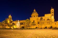 Katedra Palermo przy nocą, Włochy Zdjęcia Royalty Free