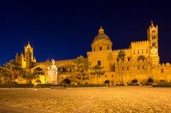 Katedra Palermo przy nocą, Włochy Fotografia Stock