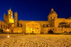 Katedra Palermo przy nocą, Włochy Obraz Stock