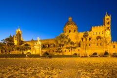Katedra Palermo przy nocą, Włochy Zdjęcie Royalty Free