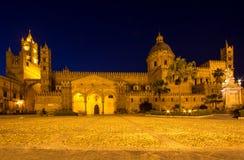 Katedra Palermo przy nocą, Włochy Obrazy Stock
