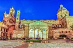 Katedra Palermo przy nocą Obraz Royalty Free