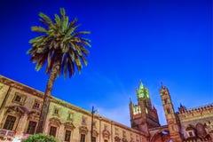 Katedra Palermo przy nocą Zdjęcia Stock