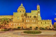 Katedra Palermo przy nocą Zdjęcia Royalty Free