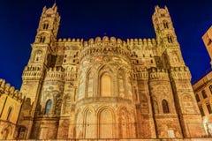 Katedra Palermo przy nocą Fotografia Stock