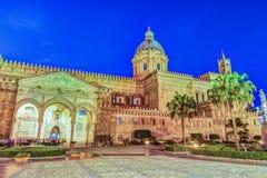 Katedra Palermo przy nocą Zdjęcie Stock
