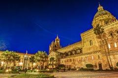 Katedra Palermo przy nocą Obrazy Stock