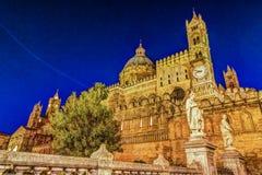 Katedra Palermo przy nocą Zdjęcie Royalty Free
