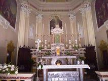 Katedra przy Malcesine na Jeziornym Gardzie w Północnym Włochy Zdjęcie Stock