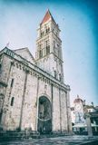 Katedra St Lawrance w Trogir, analogowy filtr fotografia royalty free