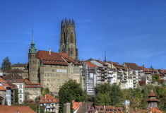 Katedra St Nicholas w Fribourg, Szwajcaria Fotografia Royalty Free