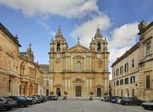 Katedra St Paul w Mdina Malta Zdjęcie Stock