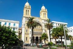 Katedra St Vincent De Paul świątynia jest katedrą archidiecezja Tunezja fotografia stock