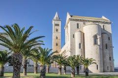 Katedra Trani z drzewkami palmowymi w przodzie fotografia stock