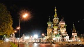 Katedra wyprostowywająca na placu czerwonym w Moskwa w 1555-61 St. Vasily Blessed.The rosyjski kościół prawosławny, obrazy stock