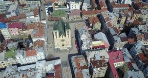 Katedrala Srca Isusova, Sarajevo. View of the Sacred Heart Cathedral in Sarajevo, Bosnia and Herzegovina from the air Royalty Free Stock Photography