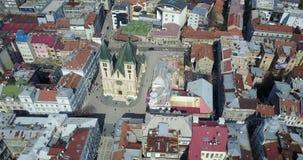 Katedrala Srca Isusova, Sarajevo. View of the Sacred Heart Cathedral in Sarajevo, Bosnia and Herzegovina from the air Royalty Free Stock Photos