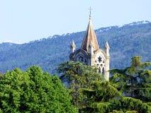 Katedralna iglica widzieć nad treetops z górami w tle obraz royalty free