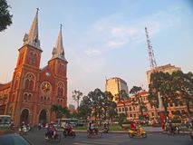 katedralny chi miasta paniusi ho minh notre Vietnam Obrazy Stock