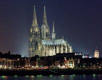 katedralny cologne Germany noc widok Fotografia Stock