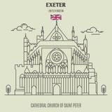 Katedralny kościół święty Peter przy Exeter, UK Punkt zwrotny ikona royalty ilustracja