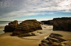 Katedry plaża jest jeden piękne plaże w Hiszpania, lokalizuje w Galicia w północy Hiszpania Zdjęcie Stock