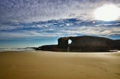 Katedry plaża jest jeden piękne plaże w Hiszpania, lokalizuje w Galicia w północy Hiszpania Zdjęcia Stock