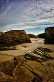 Katedry plaża jest jeden piękne plaże w Hiszpania, lokalizuje w Galicia w północy Hiszpania Obraz Royalty Free