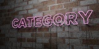 KATEGORI - Glödande neontecken på stenhuggeriarbeteväggen - 3D framförde den fria materielillustrationen för royalty stock illustrationer