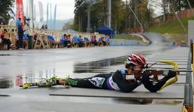 Katerina Yurlova on RBU Championship of Russia in the summer biathlon in Sochi Royalty Free Stock Images