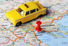 Katerini ,Greece map taxi. Close up of Katerini , Greece map and taxi toy - Travel concept stock photography